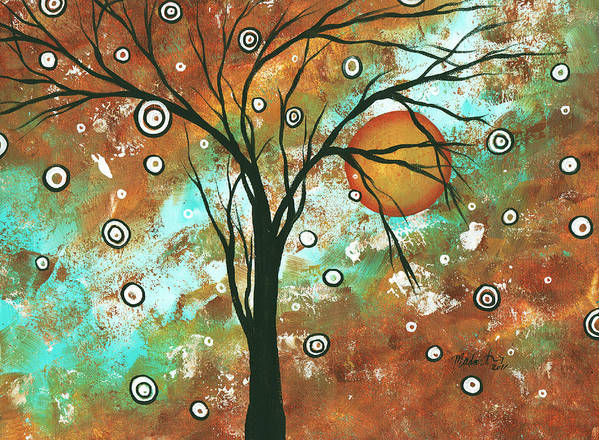 Abstract Art Print featuring the painting Abstract Art Original Landscape Painting Bold Circle Of Life Design Autumns Eve By Madart by Megan Duncanson