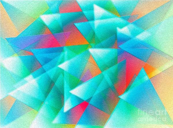 Triangle Art Print featuring the digital art Abstract Geometry Of Triangles In Digital Art by Mario Perez