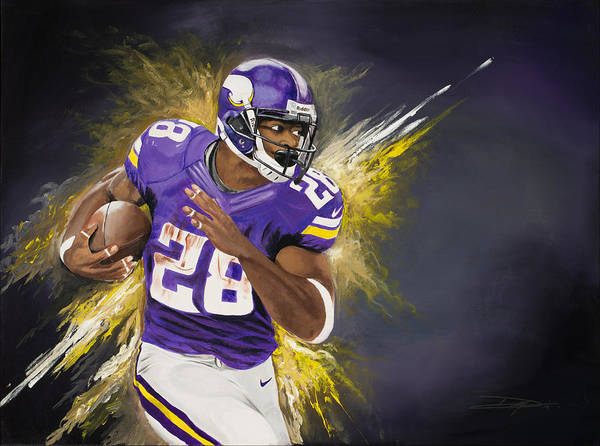 Ap Art Print featuring the painting Adrian Peterson by Don Medina