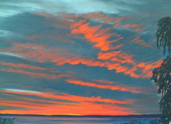 Electricity In The Red Clouds Canvas Print Print featuring the painting After The Rain by Pamela Heward