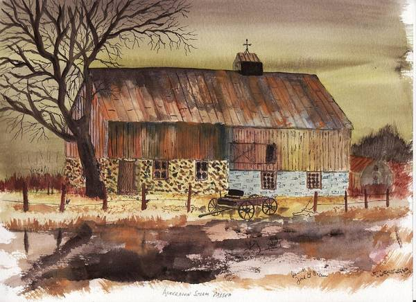 Barn Storm Buggy Landscape Fence Old Rust Art Print featuring the painting Afternoon Storm Passed by Jack G Brauer