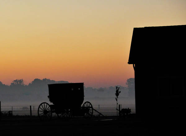 Amish Buggy Art Print featuring the photograph Amish Buggy Before Dawn by David Arment