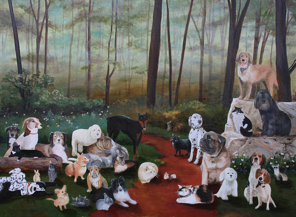 Dogs Cats Original Art Oil Painting Canvas Wooded Scene Rock Golden Retriever Bichon Bull Dog Cecilia Brendel Art Print featuring the painting Animals Living In Harmony by Cecilia Brendel