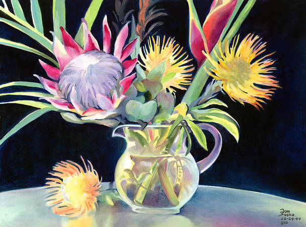 Copal Oil Art Print featuring the painting Anna's Protea Flowers Transparent by Don Jusko