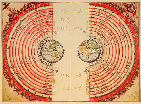 Map Art Print featuring the drawing Antique Illustrative Map Of The Ptolemaic Geocentric Model Of The Universe 1568 by Mountain Dreams