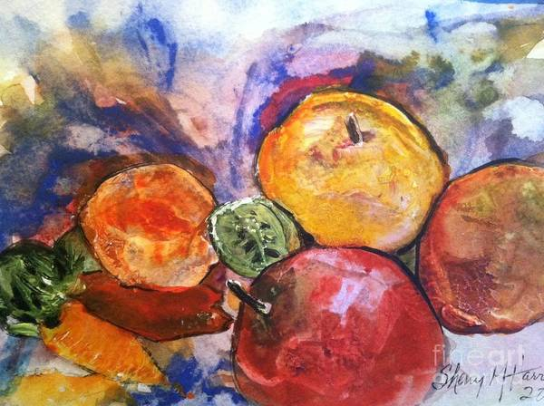 Owl Print featuring the painting Appetite For Color by Sherry Harradence