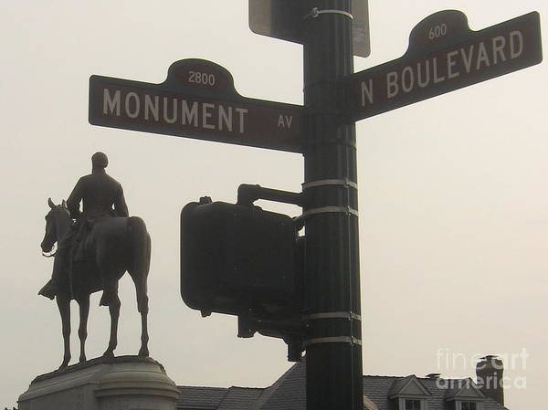 Virginia Art Print featuring the photograph at Monument and Boulevard by Nancy Dole McGuigan