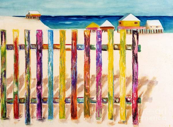 Beach Print featuring the painting At The Beach by Frances Marino