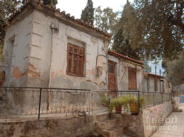 Greece Print featuring the photograph Athens Street Ruin by Deborah Smolinske
