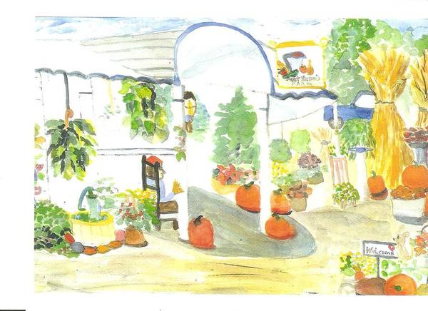 Nj Farm Stand Art Print featuring the painting Aunt Helen's Farm by Thelma Harcum