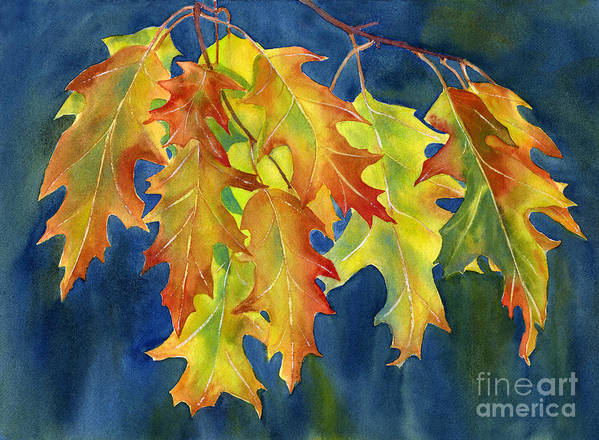 Oak Print featuring the painting Autumn Oak Leaves On Dark Blue Background by Sharon Freeman