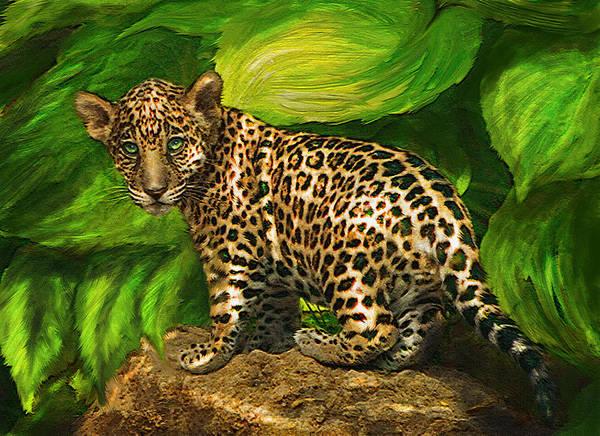 Jaguar Art Print featuring the digital art Baby Jaguar by Jane Schnetlage