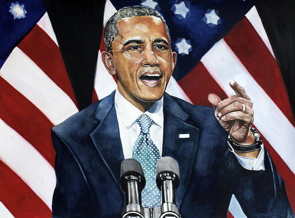 Barack Obama Art Print featuring the painting Barack Obama by Michael Pattison