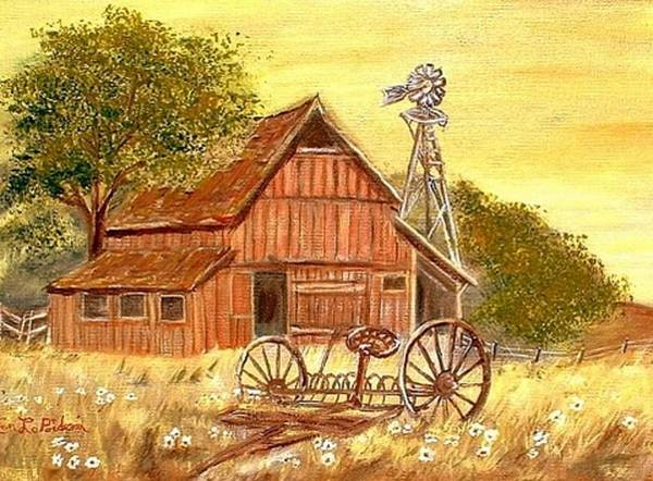 Barn Old Rake Windmill Art Print featuring the painting Barn - Windmill - Old Rake by Kenneth LePoidevin