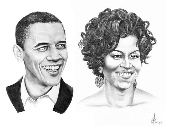 Portrait Print featuring the drawing Barrack And Michelle Obama by Murphy Elliott