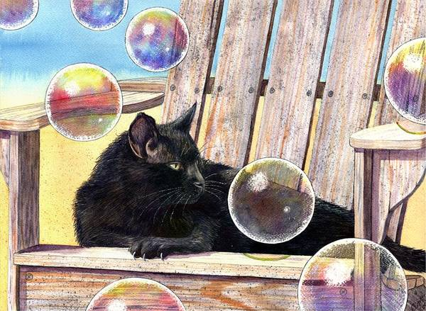 Cat Art Print featuring the painting Basking In Bubbles by Catherine G McElroy