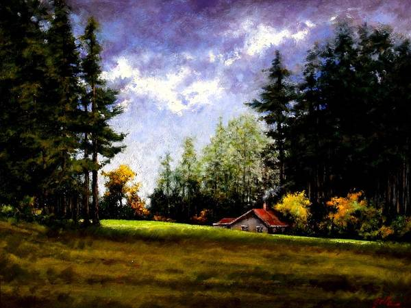 Landscape Art Print featuring the painting Battle Ground Park by Jim Gola