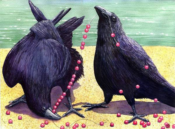 Raven Art Print featuring the painting Baubles by Catherine G McElroy