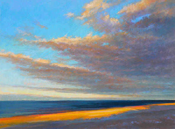 Beach Art Print featuring the painting Beach Front by Ed Chesnovitch