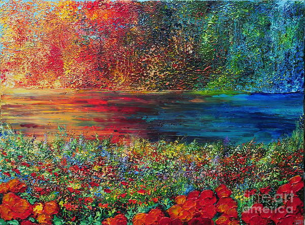 Abstract Art Print featuring the painting Beautiful Day by Teresa Wegrzyn