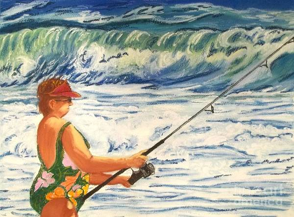 Figure Art Print featuring the painting Big Momma Fishin' by Frank Giordano