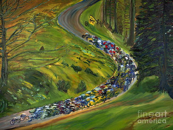 Lance Armstrong Art Print featuring the painting Bike Race Belgium Arden Spring Classics by Gregory Allen Page