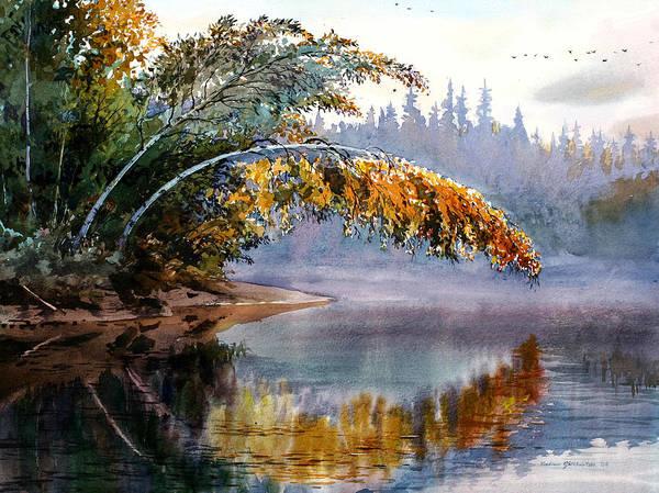 Landscape Art Print featuring the painting Birch Creek Beauty by Vladimir Zhikhartsev
