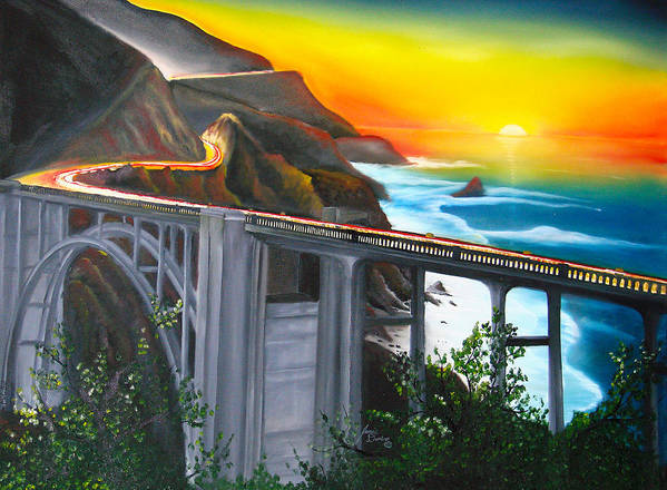 Beautiful California Sunset! Art Print featuring the painting Bixby Coastal Bridge Of California At Sunset by Portland Art Creations