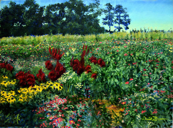 Landscape Paintings Paintings Art Print featuring the painting Black Eyed Susans Part 2 by David Zimmerman