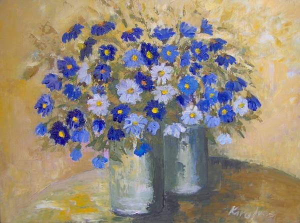Flowers Art Print featuring the painting Blue Flowers by Maria Karalyos