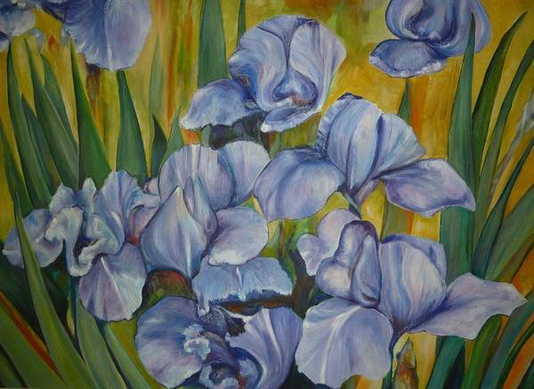 Flowers Art Print featuring the painting Blue Irises by Cate Evans