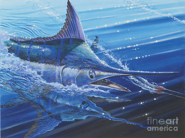 Blue Marlin Art Print featuring the painting Blue Marlin Strike Off0053 by Carey Chen