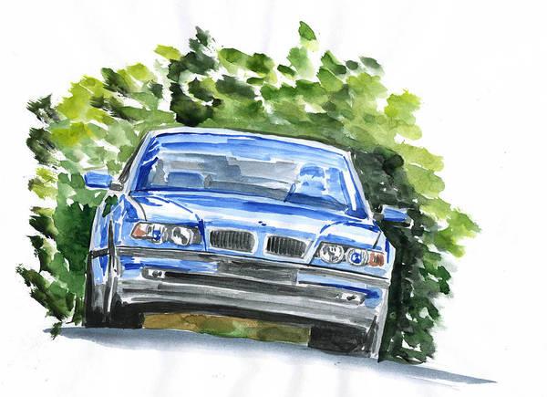 Auto Art Print featuring the painting Bmw E38 by Ildus Galimzyanov
