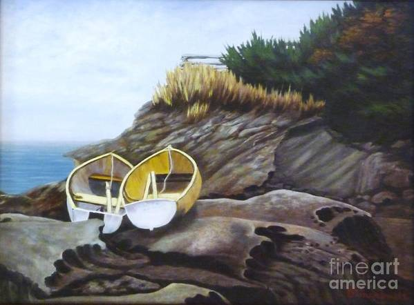 Landscape Art Print featuring the painting Boats At Berry Point by Beverly Theriault
