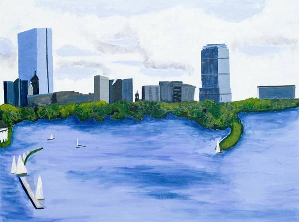 Landscape Art Print featuring the painting Boston Skyline by Carmela Cattuti