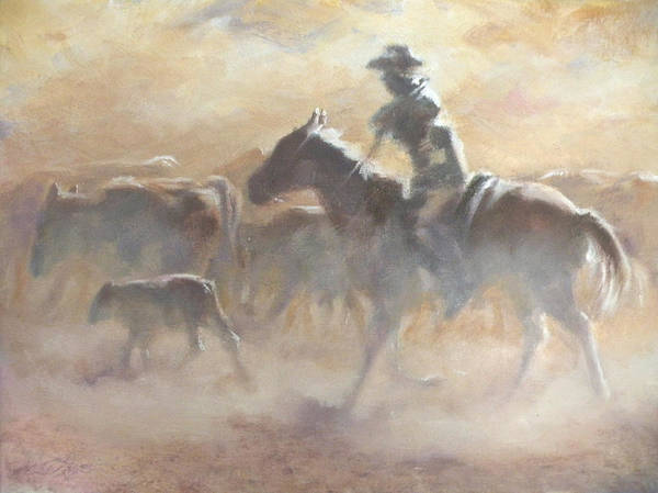 Cowboys Art Print featuring the painting Burning Daylight by Mia DeLode