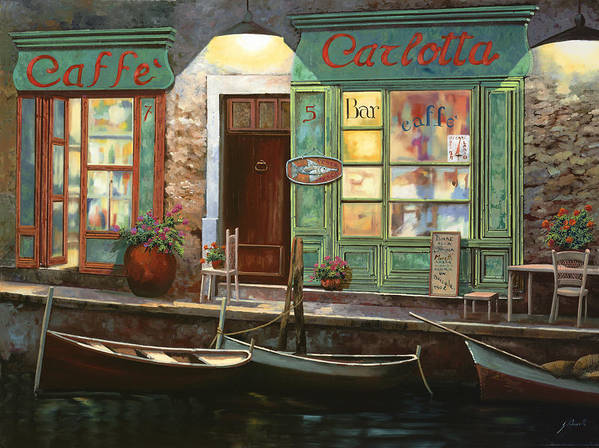 Venice Art Print featuring the painting caffe Carlotta by Guido Borelli
