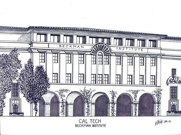 Caltech Beckman Institute Drawing Art Print featuring the drawing Cal Tech Beckman by Frederic Kohli