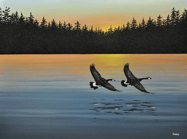 Canada Geese. Bireds Art Print featuring the painting Canada Geese by Kenneth M Kirsch