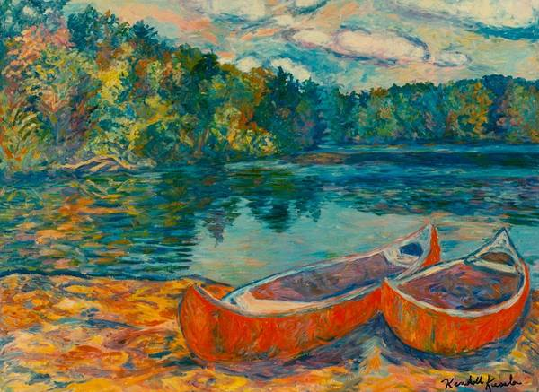Landscape Art Print featuring the painting Canoes At Mountain Lake by Kendall Kessler