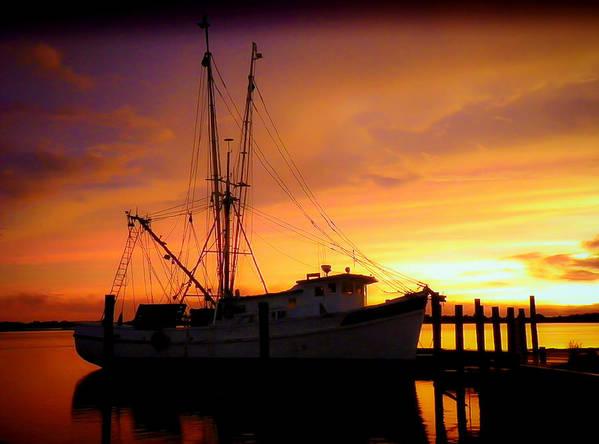Shrimp Trawlers Print featuring the photograph Carolina Morning by Karen Wiles