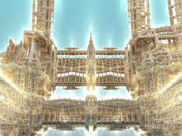 Fractal Art Art Print featuring the digital art Cathedral by Bernard MICHEL