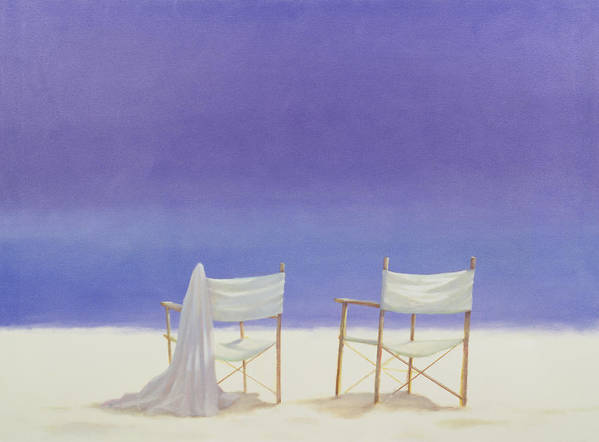Sand Art Print featuring the photograph Chairs On The Beach, 1995 Acrylic On Canvas by Lincoln Seligman
