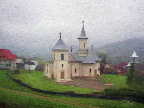 Chapel Art Print featuring the painting Church In The Mist by Jeff Kolker