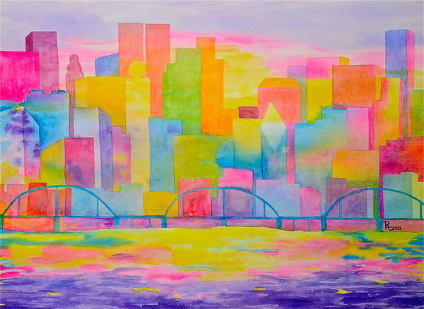 Abstract City Art Print featuring the painting City To Dye For by Rhonda Leonard