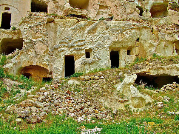 Close-up Of Tufa-carved Homes In Cappadocia Art Print featuring the photograph Close-up Of Tufa-carved Homes In Cappadocia-turkey by Ruth Hager
