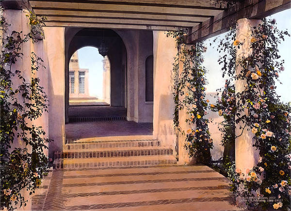 Tranquil Print featuring the photograph Columns And Flowers by Terry Reynoldson
