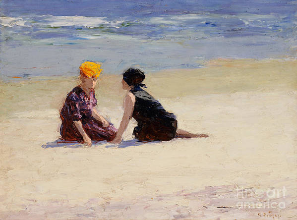 Couple Print featuring the painting Confidences by Edward Henry Potthast