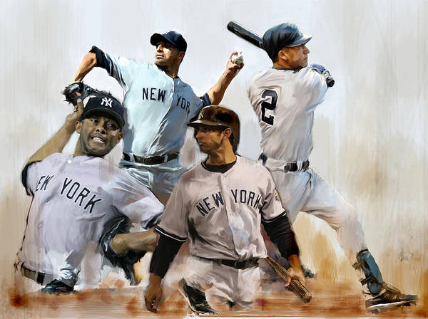 Dereck Jeter Core Four Yankees Andy Pettitte Jorge Posada Rivera Art Work Paintings Art Print featuring the painting Core Derek Jeter Mariano Rivera Andy Pettitte Jorge Posada by Iconic Images Art Gallery David Pucciarelli