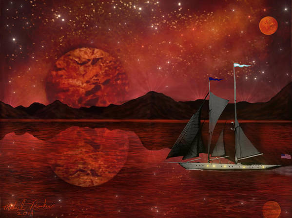 Cosmic Art Print featuring the painting Cosmic Ocean by Michael Rucker